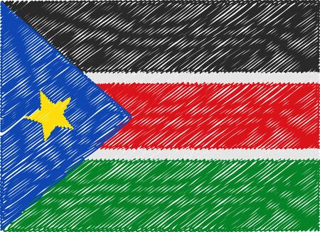 sudan: south sudan flag embroidered zigzag