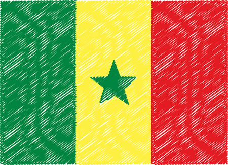 senegal: senegal flag embroidered zigzag