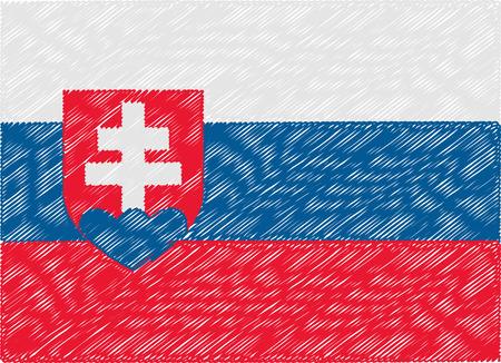 slovakia: slovakia flag embroidered zigzag Illustration