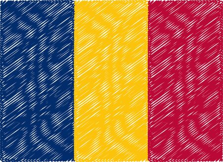 chad flag: chad flag embroidered zigzag