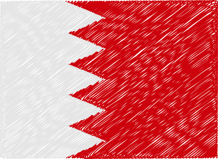 bahrain: bahrain flag embroidered zigzag Illustration