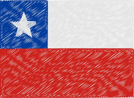 bandera de chile: Chile bandera bordada en zigzag