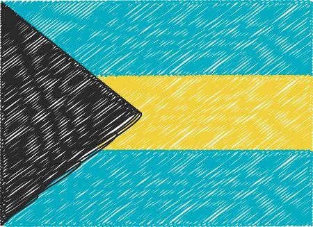 bahamas: bahamas flag embroidered zigzag Illustration