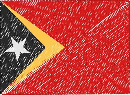 timor: east timor flag embroidered zigzag