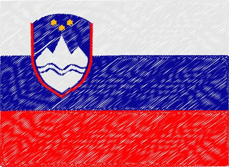 slovenia: slovenia flag embroidered zigzag