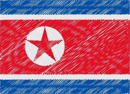 korea flag: north korea flag embroidered zigzag