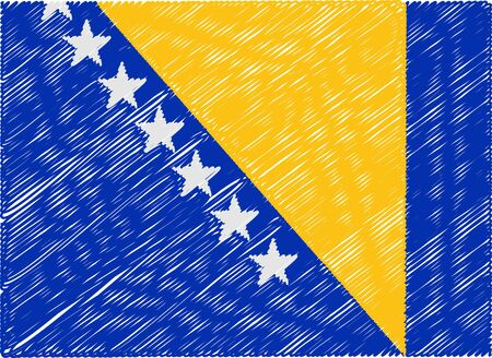 bosnia: bosnia flag embroidered zigzag Illustration