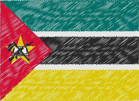 mozambique: mozambique flag embroidered zigzag