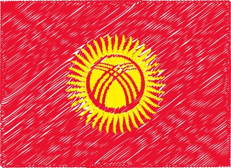 kyrgyzstan: Kirguistán bandera bordada en zigzag