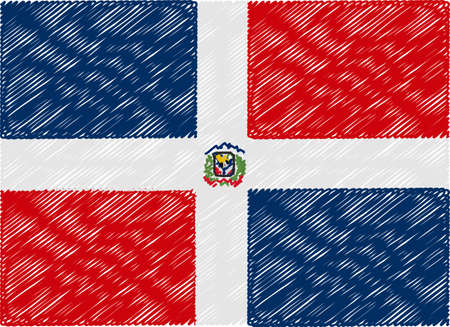 rep: dominican rep flag embroidered zigzag Illustration