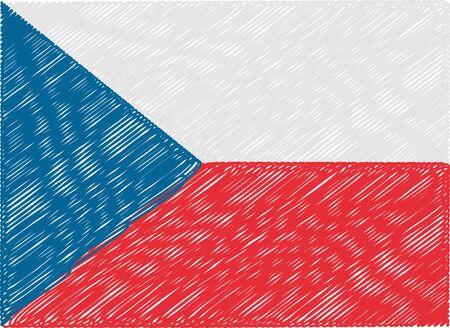 czech flag: czech flag embroidered zigzag Vettoriali