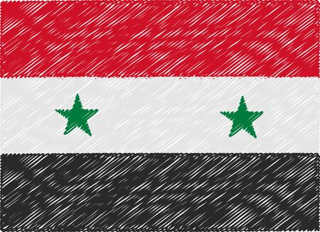 syria: syria flag embroidered zigzag