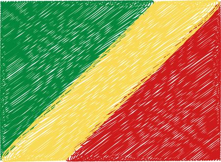 republic of the congo: republic congo flag embroidered zigzag