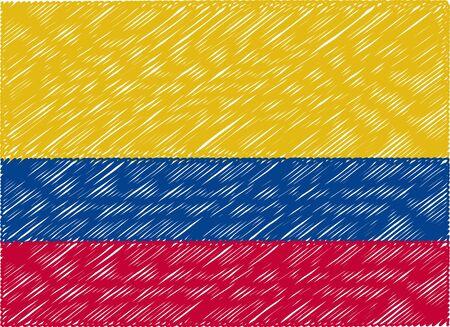 bandera de colombia: Colombia bandera bordada en zigzag Vectores