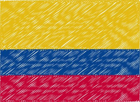 bandera colombia: colombia flag embroidered zigzag Vectores
