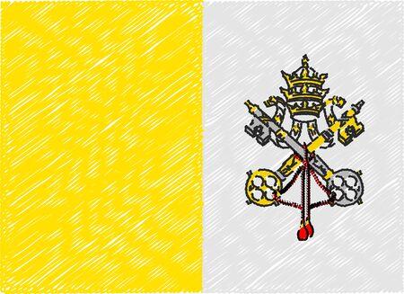 vatican: vatican flag embroidered zigzag Illustration