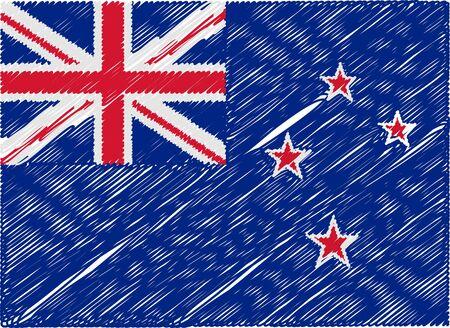 new zealand flag: new zealand flag embroidered zigzag Illustration