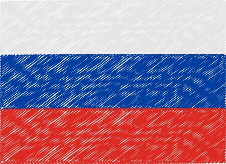 flag of russia: russia flag embroidered zigzag Vettoriali