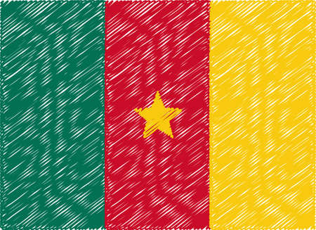 cameroon: cameroon flag embroidered zigzag Illustration