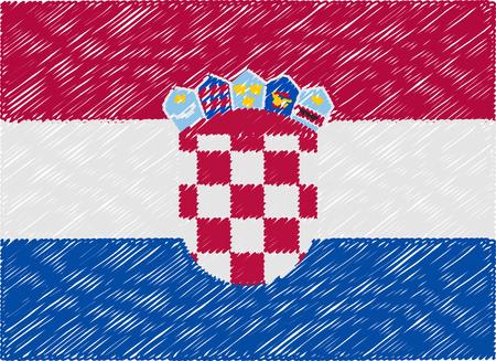 bandera de croacia: croacia bandera bordada en zigzag