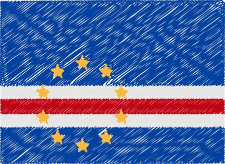 cape verde: cape verde flag embroidered zigzag