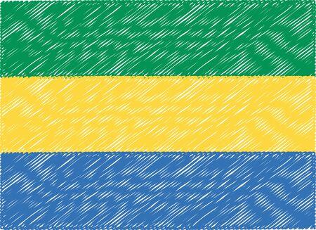 gabon: gabon flag embroidered zigzag