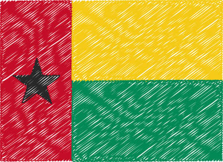 guinea bissau: guinea bissau flag embroidered zigzag