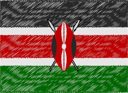 kenya: kenya flag embroidered zigzag Illustration