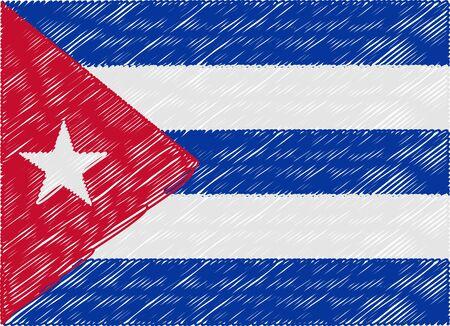 bandera cuba: Cuba zigzag bordado de la bandera Vectores