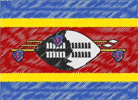 swaziland: swaziland flag embroidered zigzag