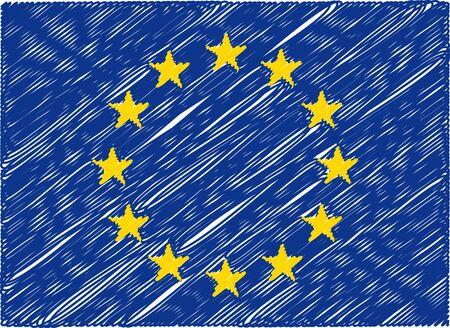evropský: european union flag embroidered zigzag Ilustrace