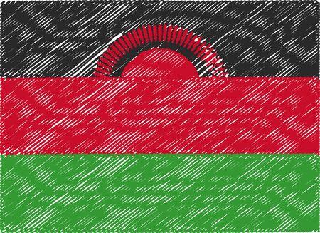 malawi: malawi flag embroidered zigzag Illustration