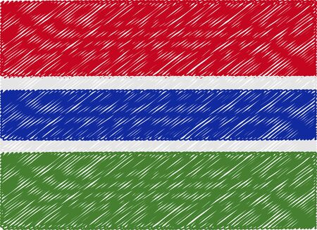 gambia: gambia flag embroidered zigzag Illustration