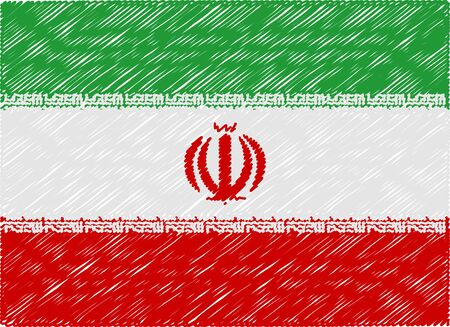 iran: iran flag embroidered zigzag