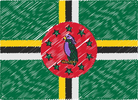 dominica: dominica flag embroidered zigzag Illustration