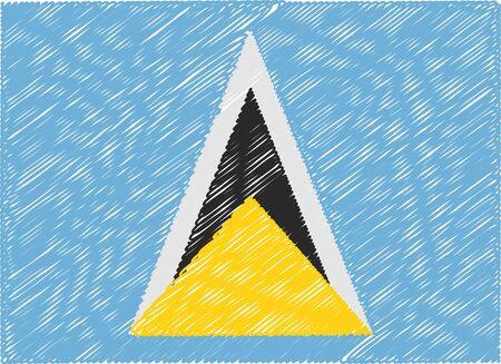lucia: saint lucia flag embroidered zigzag