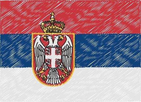 serbia flag: serbia flag embroidered zigzag