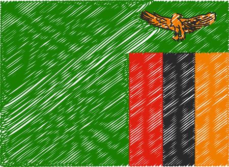 zambia: zambia flag embroidered zigzag