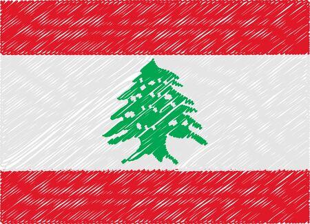 lebanon: lebanon flag embroidered zigzag Illustration
