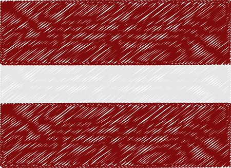 latvia flag: latvia flag embroidered zigzag Illustration