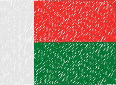 madagascar: madagascar flag embroidered zigzag Illustration