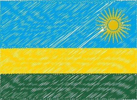 rwanda: rwanda flag embroidered zigzag