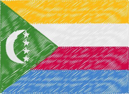 comoros: comoros flag embroidered zigzag Illustration
