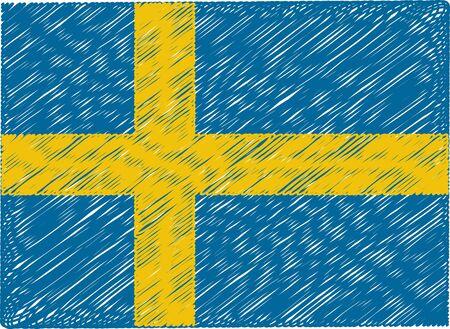 bandera suecia: suecia bandera bordada en zigzag Vectores
