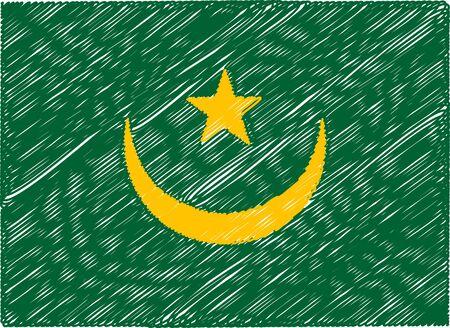 mauritania: mauritania flag embroidered zigzag