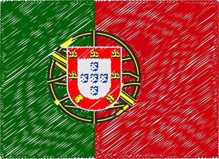 bandera de portugal: portugal bandera bordada en zigzag Vectores
