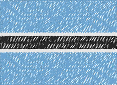 botswana: botswana flag embroidered zigzag Illustration