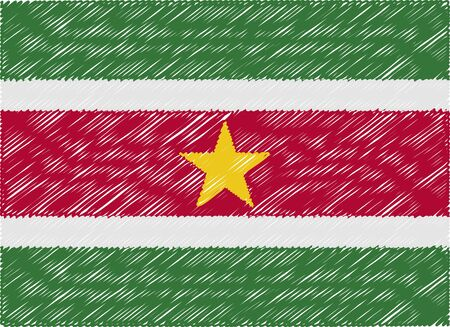 suriname: suriname flag embroidered zigzag