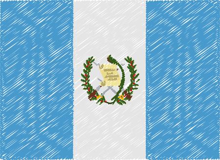 bandera de guatemala: Guatemala bandera bordada en zigzag Vectores