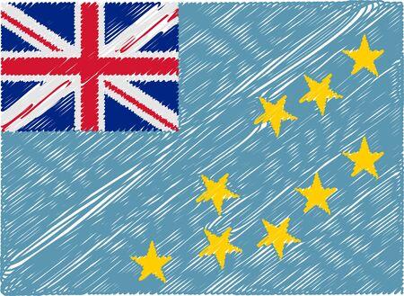 tuvalu: tuvalu flag embroidered zigzag Illustration